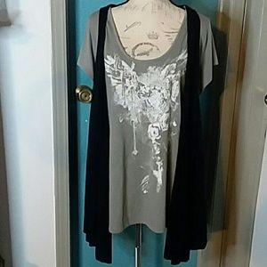 Lane Bryant Tshirt with long Vest Size 18/20